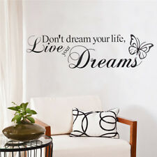 SWEET DREAMS Bedroom Wall Stickers Butterfly Love Quote Removable Decals DIY UK