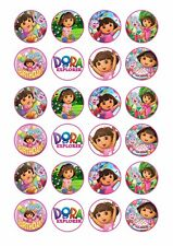 24 x DORA THE EXPLORER Wafer Rice Paper Cupcake Toppers EDIBLE CAKE DECORATIONS