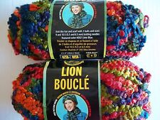 Lion Brand Lion Boucle mohair blend yarn, hard candies, lot of 2 (57 yds each)