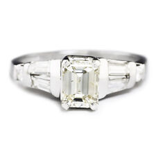 Emerald Cut Diamond Engagement Ring w/ Accents 14K White Gold 1.50ctw