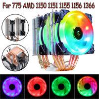 CPU Cooler 6 Heatpipe LED RGB 4Pin PWM Dual Fan Heatsink Radiator for Intel AMD