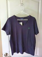 NWT Ralph Lauren Sport XL Black/Green Short Sleeve V-Neck Women's T-Shirt