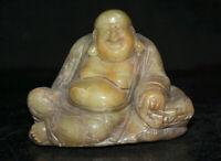 """4 """"Chinois Naturel Shoushan Pierre Sculpté Heureux Rire Maitreya Bouddha Statue"""