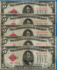 Lot of 5 Notes -1928-A $5 US Notes - Evenly Circulated # 23