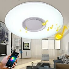 Modern LED Flush Mount Ceiling Light Fixture Remote with Bluetooth Music Speaker
