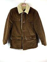 H.I.S Sportswear Vintage Brown Corduroy Coat Jacket Sherpa Lined