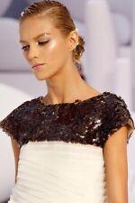 CHANEL £12,000 S/S 2012 Runway, Cream Mille Feuille Paillettes Dress FR 38 UK 10