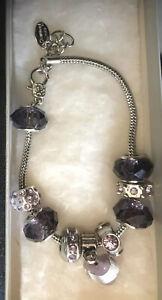 Swarovski Crystals bracelet Purple Murano Glass Silvertone Marble Heart Charm