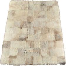 éco peau de mouton tapis Mélange beige gris 200 x 160 cm en fourrure patchwork