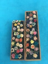 "Dollhouse Miniature Window Boxes  w/ Flowers 3.25"" & 2.25""Long Colorful Flowers"