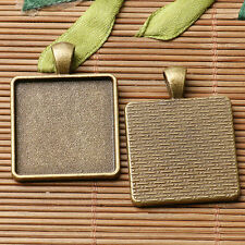 3pcs antiqued bronze color squared shaped cabochon setting in 25x25mm EF3082