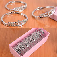CH Women Crystal Charm Jewelry Hot Crown Bangle Fashion Silver Plated Bracelet
