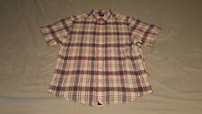 Untuckit Men's Medium Short Sleeve Plaid Button-up Shirt
