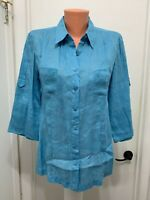 Coldwater Creek pm womens blouse blue linen roll up sleeves button