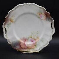 "RS Prussia German Pink Cabbage Roses & Gold 9 3/4"" Diameter Handled Cake Plate"