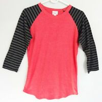 LuLaRoe Randy Baseball T Shirt Raglan Red Black Stripe Womens XS