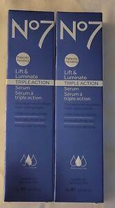 No7 Lift & Luminate Triple Action Serum 1.69 Oz (LOT OF 2) LOW PRICE~NEW/SEALED