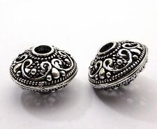 4 PCS SOLID BRASS BALI BEAD 21X14MM ANTIQUE  STERLING SILVER PLATED  B 354