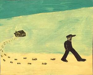 WILDERNESS WALK Raw Folk Art Brut Painting Outsider T. Marie Nolan OriginaL