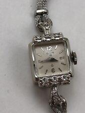Vintage 1950s ELGIN 14k White Gold 10 Diamond Ladies Watch