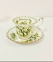 """Royal Albert January Flower Of The month Teacup and Saucer """"Snowdrops"""""""