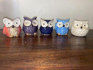 """5 Pcs Succulent Planter Pots Owl Ceramic - Small Planter Pots multi color 2.5"""""""