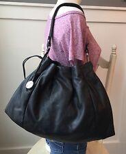 FURLA Black Leather Drawstring Pleated Shoulder Bag Handbag Hobo EXCELLENT!