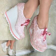 Para mujer cómodos Boda Nupcial Con Cordones Cuñas Plataforma Zapatos Abotinados tamaño cerrado