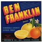 BEN FRANKLIN, Vintage Oviedo Florida, blue ***AN ORIGINAL CITRUS CRATE LABEL***