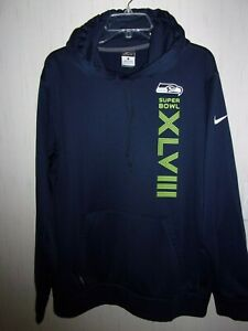 Seahawks Super Bowl Hooded- Long Sleeve Sweat Shirt.  Size L/G