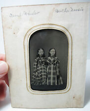 NICE - Tintype Photo - 2 Young Girls - ID'd - in Plaid Dresses  twins? BFF 1870s