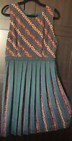 Modcloth A-Line Floral Pleats Dress Size 16 Green Blue Mustard -NWT
