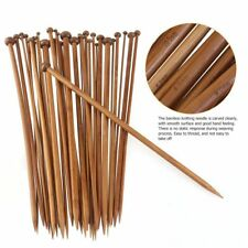 "Lot 36pcs 10"" 25cm Bamboo Knitting Needles Set 18 pairs Sizes from 2 to 10mm"