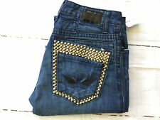 👍ROBIN'S JEAN Men's Gold Studded Double Back Pockets Straight Jeans Size 33 🏍