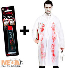 Bloody Zombie Doctor Coat + Blood Mens Fancy Dress Halloween Adults Costume New
