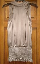 Panhandle Slim Silver/Gray Polyester Blouse/Top Sleeveless Halter Extra Large XL