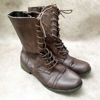 Madden Girl Steve Madden Womens Gomby  Sz 9.5 M Brown Lace Up Combat Style Boots