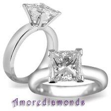 3.40 ct H VS2 natural princess cut diamond solitaire engagement ring 18k gold