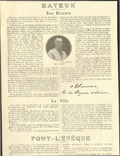 14 BAYEUX SON DIOCESE LA VILLE PONT-L'EVEQUE ARTICLE DE PRESSE MGR THOMAS 1925