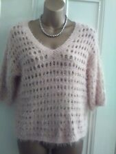 Ladies size XS. Next peach fluffy knit jumper. 3/4 sleeve, v-neck.