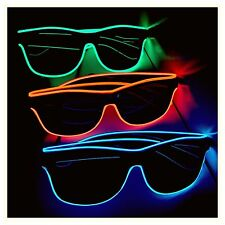 3 x Pairs Of Flashing Neon Led Sunglasses Blue Red Green Edm Rave