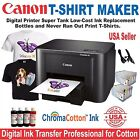 CANON PRINTER + BULK HEAT TRANSFER INK COTTON T-SHIRT MAKER MORE STARTER  .