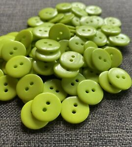 20 X Lime Green 15mm Two Hole Resin Buttons- Australian Supplier
