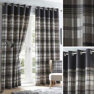 Grey Eyelet Curtains Tartan Check Plaid Modern Ready Made Lined Ring Top Pairs
