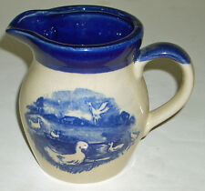 """Charming Vintage 5"""" Ducks on Pond Blue and Tan Ironstone / Pottery Pitcher"""