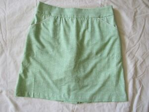 PETER MILLAR Golf Wicking Skort Skirt Women's 4 White w Green Greek Key NWOT