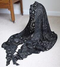 "Antique Black Silk Lace Mantilla Shawl Scarf 94"" Long"