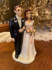 Holland Mold Painted Ceramic Wedding Cake Topper Bride Groom Figure VTG 1960s