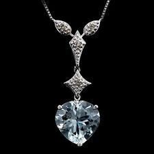 LOVELY 2 1/4 CARAT AQUAMARINE & DIAMOND 10KT SOLID WHITE GOLD HEART NECKLACE