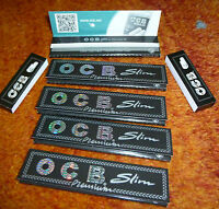 5 Heftchen OCB Schwarz Premium long slim 32 Blatt Blättchen + 100 Filter Tips